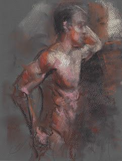 By the window, male nude study