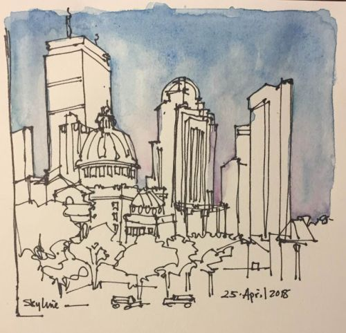 """Day 207 """"Skyline"""" 5 x 5 ink and watercolor"""
