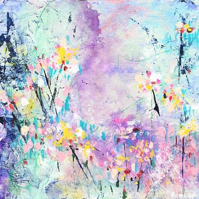 "Holiday Sale,Flower Art,Colorful Contemporary Abstract Expressionist Fine Art Painting ""COTTONCANDY"