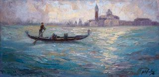 New Venice Palette Knife Painting by Contemporary Impressionist Niki Gulley