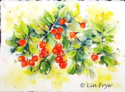 Journal - Splash and Splatter Rose Hips - Lin Frye - North Carolina
