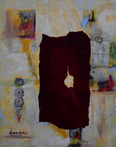 "Contemporary Painting, Abstract Art, Expressionism, Cold Wax, ""The Robe"" by International Abstract Realism Artist Arrachme"
