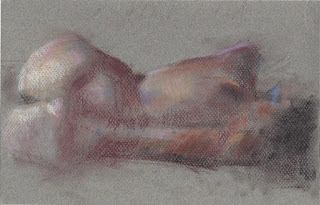Backside of a laying female nude figure drawing