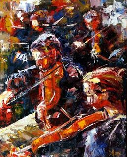 """Abstract Figurative Music Art Orchestra Palette Knife Painting """"Performance"""" by Texas Artist Debra Hurd"""
