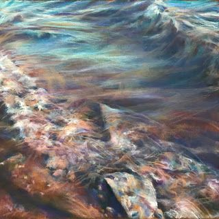 "FALL + FLOW - 18"" x 18"" seascape pastel by Susan Roden"