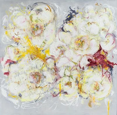 """Contemporary Abstract Expressionist Floral Painting, """"SUBTLE RISINGS"""" by Abstract Artist Pamela Fowler Lordi"""