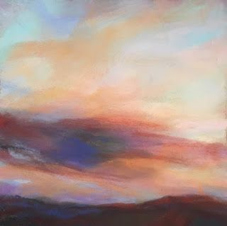 "A DREAM - 4 1/2"" x 4 1/2"" sunset pastel by Susan Roden"