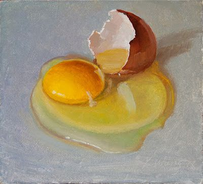 A cracked egg still life daily painting a day food painting original oil painting small