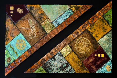 "Contemporary Abstract Mixed Media Art Paintings ""Patchwork"" by Arizona Contemporary Artist Pat Stacy"