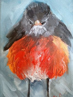 Wildlife Painting, Robin Oil Painting, Daily Painting, Small Oil Painting, 5x7