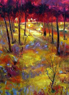 "Palette Knife Abstract Landscape Painting ""Mid Winter"" by Texas Artist Debra Hurd"