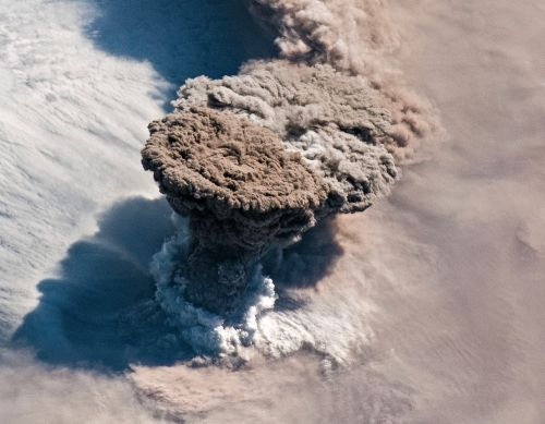 An Out-Of-This-World Aerial Shot of a Volcano Erupting in Russia