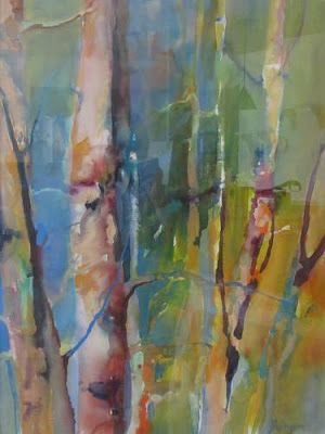 "Abstract Landscape, Colorful Aspen Tree Painting ""Aspens Turning"" by Intuitive Artist Joan Fullerton"