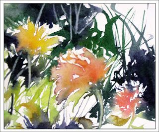 Fall Line Up..Watercolor..Texas Artist..Rae Andrews
