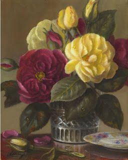 Burgundy and yellow roses in crystal tumbler glass 10x8 in. oil painting