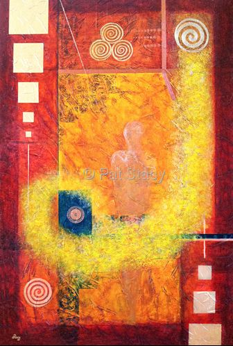 "Abstract Mixed Media Painting, Mystical Figure Art ""Confianza"" by Contemporary Arizona Artist Pat Stacy"