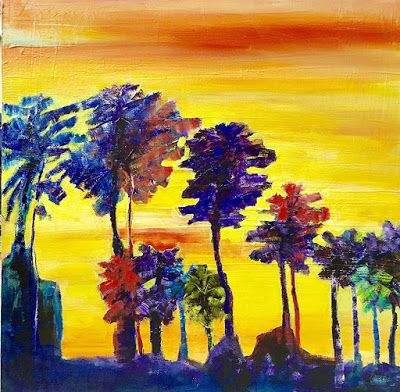 "Mixed Media Abstract Landscape Painting,Palm Trees, ""Sunset Palms"" by California Artist Cecelia Catherine Rappaport"