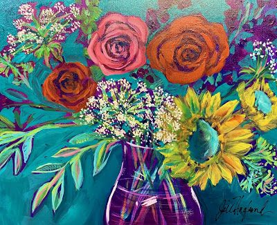 """Roses, Expressive Floral Painting, Colorful Original Flower Art, """"G' MORNING SUNSHINE!"""" by Texas Contemporary Artist Jill Haglund"""