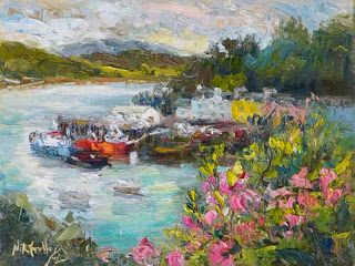 """Painted Harbor"" Palette Knife Painting from Portree, Scotland by Niki Gulley"