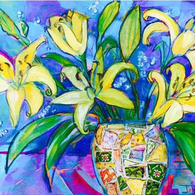 """Expressive Still Live Floral Painting, Colorful Original Flower Art, """"Starry Night Lilies"""" by Texas Contemporary Artist Jill Haglund"""