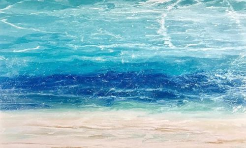 """Ocean, Abstract Seascape Painting, Coastal Home Decor, Abstract Beach, """"Windswept Waters"""" by International Contemporary Seascape Artist Kimberly Conrad"""