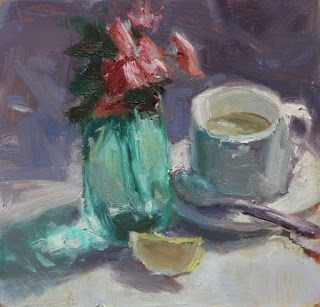 Green Vase and Tea Cup