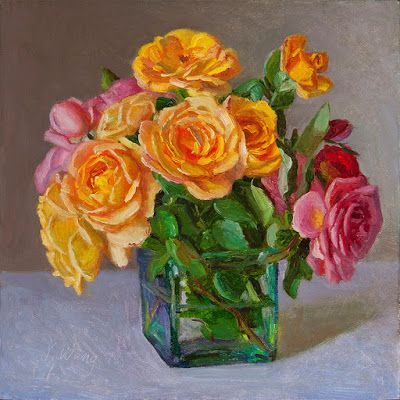 Roses flower original oil painting a day still life contemporary