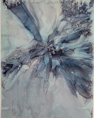"""Alcohol Inks, Abstract Painting, Contemporary Art """"WINTER'S SNOWFLAKE"""" by Florida Artist Mary Ann Ziegler"""