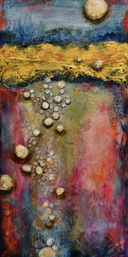 "Mixed Media Abstract Painting ""Lunar Reflections"" by Santa Fe Contemporary Artist Sandra Duran Wilson"