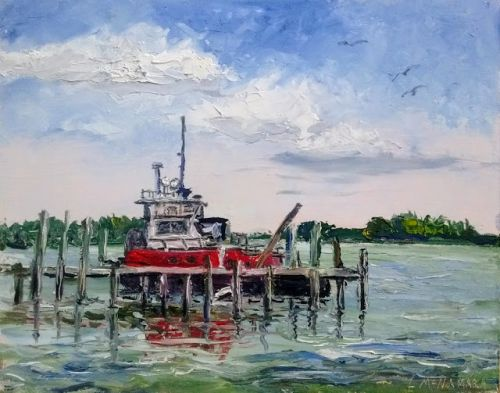 1781 Tugboat on the Causeway, plein aire