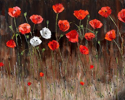 """Red Poppies Art Floral Painting Flower Paintings White Poppies Texture """"Two White Poppies"""" by Debra Hurd"""
