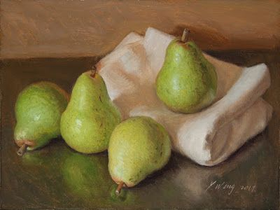 Original still life oil painting pears a painting a day contemporary realism fruit painting