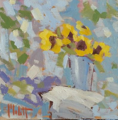 Abstract Impressionism SunflowersOriginal Artwork Heidi Malott