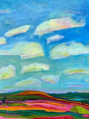 """Ghost Ranch, Colorful Expressionist Landscape Painting """"Ghost Ranch Drive"""" by Santa Fe Artist Annie O'Brien Gonzales"""