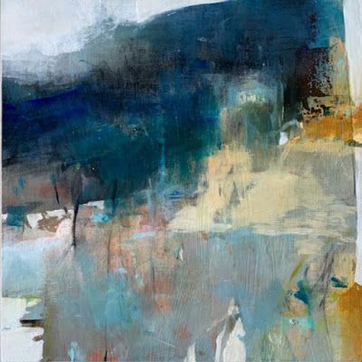 """Abstract Landscape, Contemporary Intuitive Abstract Painting """"HILLSIDE MEMORY"""" by Intuitive Artist Joan Fullerton"""