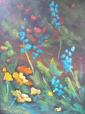 Wildflower Painting, Daily Painting, Small Oil Painting, Floral Landscape, 6x8