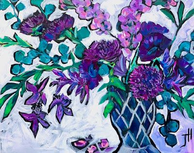 "Expressive Still Live Floral Painting, Colorful Original Flower Art, ""VIOLET VIBS"" by Texas Contemporary Artist Jill Haglund"