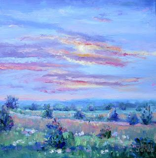 Magical Meadow, New Contemporary Landscape Painting by Sheri Jones