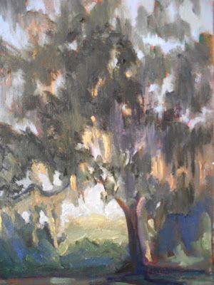 Tree Landscape Painting, Sunset Painting, Spanish Moss and Live Oak, Small Oil Painting, Daily Painting