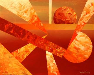 Mark Webster - Abstract Orange Sunset Cityscape Acrylic Painting