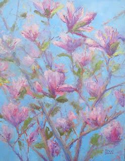 Pink Blossoms, New Contemporary Painting by Sheri Jones