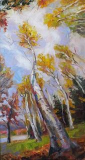 """""""Looking Up II"""" Aspen Tree painting by Contemporary Impressionist Niki Gulley"""
