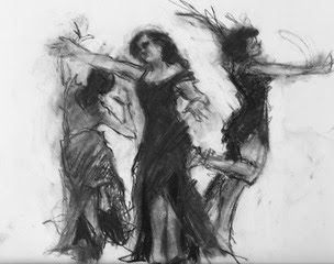 Dancers 3 - loose black and white charcoal figurative drawing of dancers