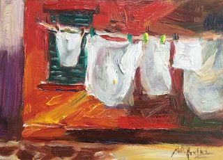 """New """"Laundry Day"""" Oil Painting by Contemporary Impressionist Niki Gulley"""