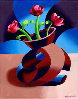 Mark Webster - Futurist Dancing Abstract Flower Pot Still Life Oil Painting - Step One