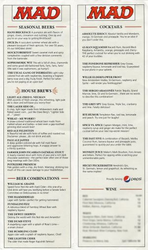 Monday MADness- A MAD Bar Menu!