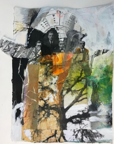 """Abstract Mixed Media Landscape, Collage, Figurative Painting """"VIRILE CAPACITY"""" by Intuitive Artist Joan Fullerton"""