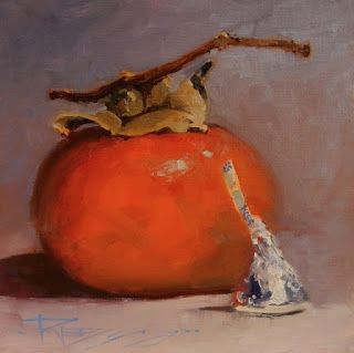 """""""Persimmon Kiss"""" still life painting by Robin Weiss"""