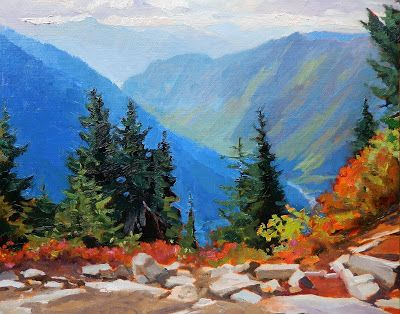 """Blue Valley"" original, landscape, oil painting by Robin Weiss"