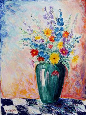 Flowers in Green Vase on checkerboard, by Carol Engles